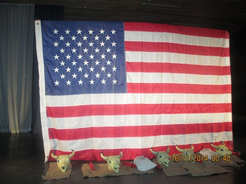 AMERICAN BACKDROP 12FT BY 8FT WITH RESIN CACTI